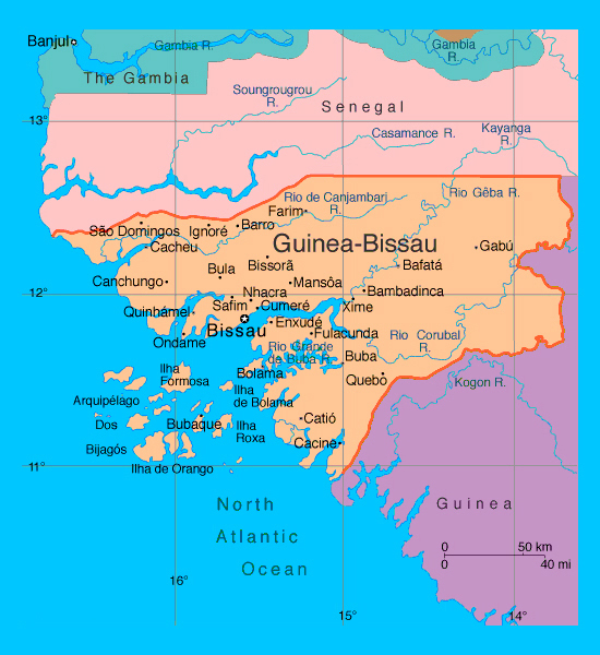 Political map of Guinea-Bissau with cities. Guinea-Bissau political map with cities.