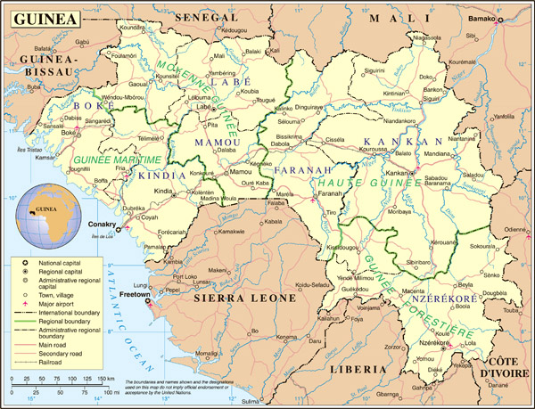 Administrative map of Guinea. Guinea administrative map.