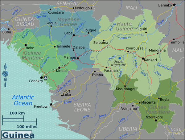 Detailed Guinea regions map. Guinea detailed regions map.