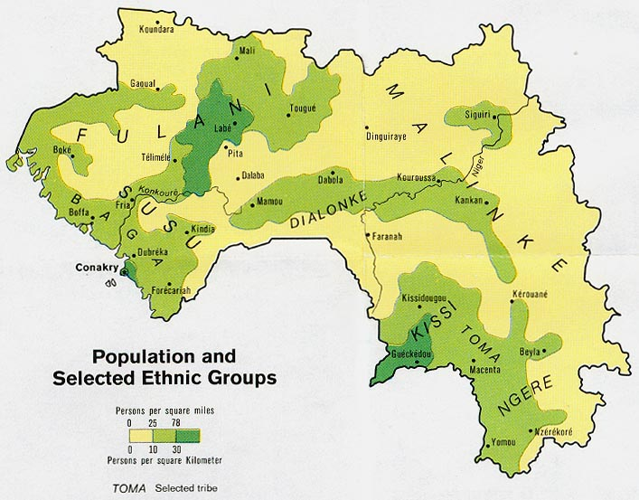 Guinea population and selected ethnic groups map 1973.