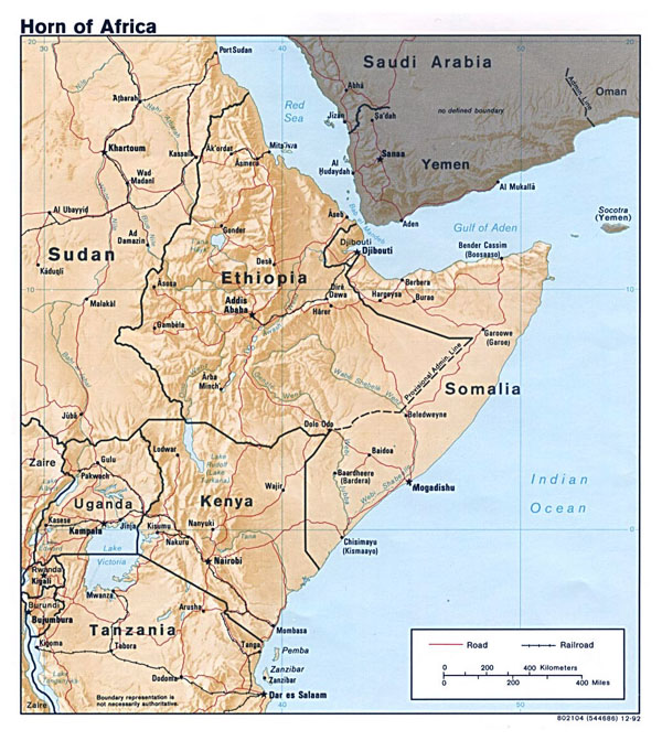 Large political map of Horn of Africa with relief - 1992.