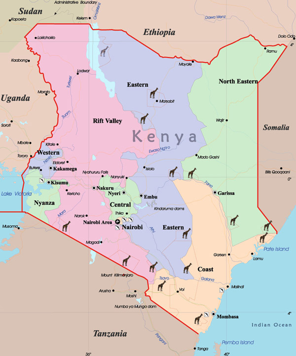 Detailed administrative map of Kenya. Kenya detailed administrative map.