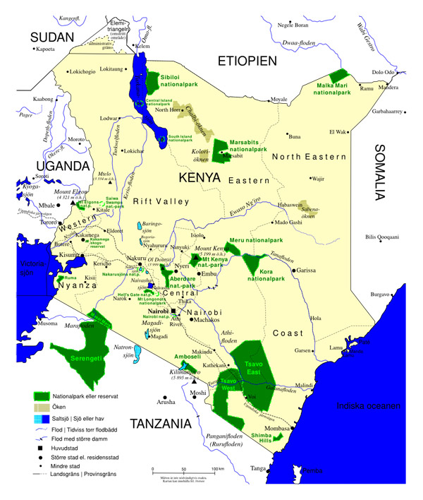 Detailed national parks map of Kenya. Kenya detailed national parks map.