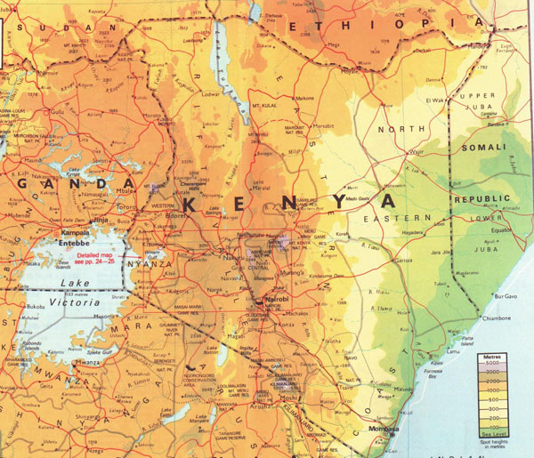 Detailed physical map of Kenya. Kenya detailed physical map.