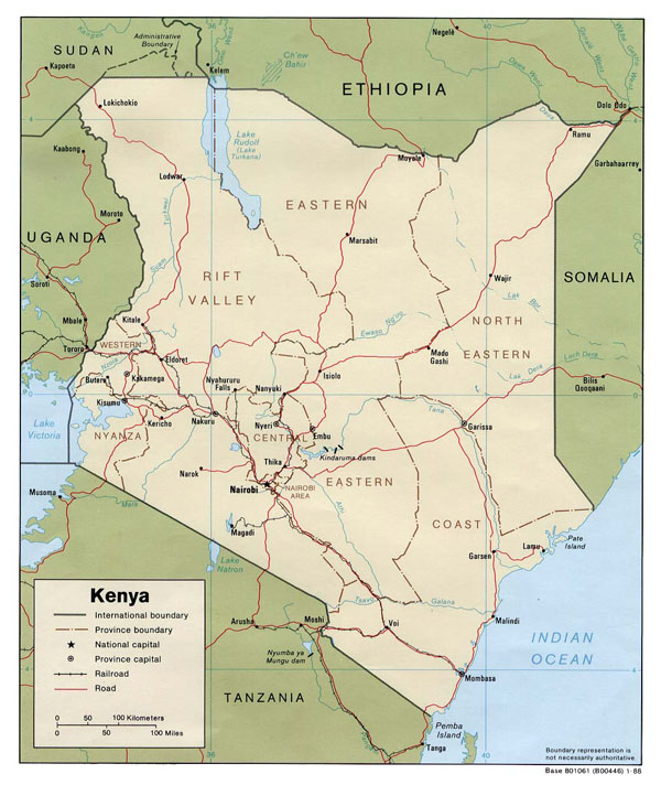 Detailed political and administrative map of Kenya.
