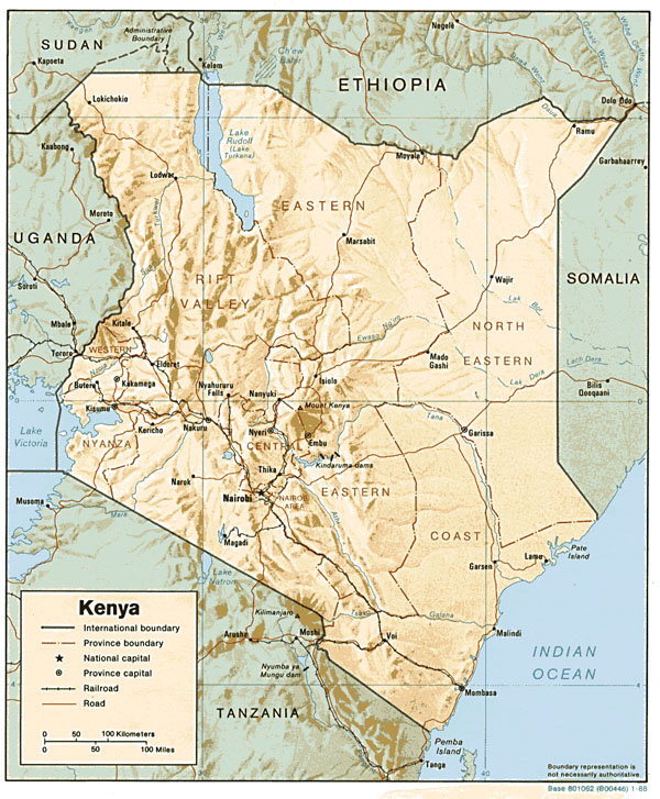 Detailed political and relief map of Kenya with all cities and roads.
