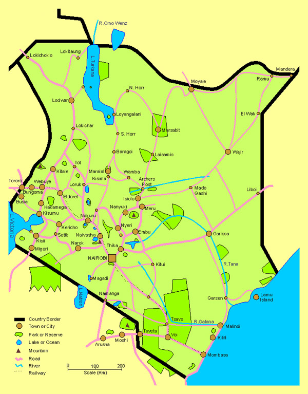 Detailed travel map of Kenya. Kenya detailed travel map.