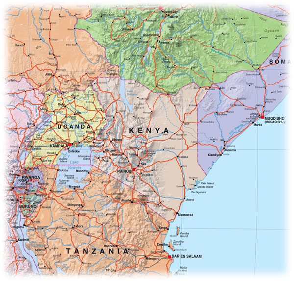 Large detailed Kenya political and relief map with roads.