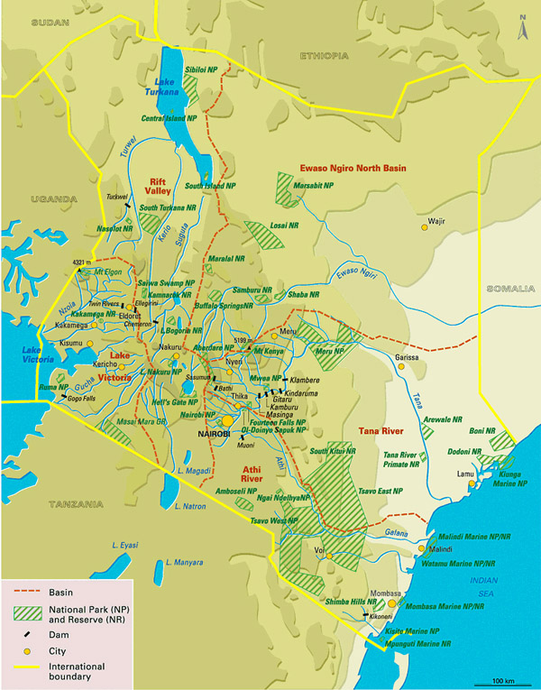 Large detailed national parks map of Kenya.