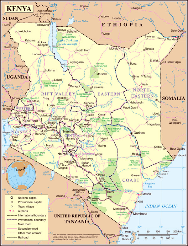 Large detailed political and road map of Kenya.