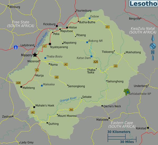 Full political map of Lesotho. Lesotho full political map.