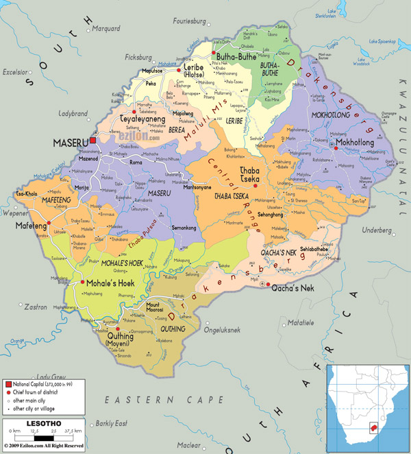 Large detailed administrative amd political map of Lesotho with all cities and roads.