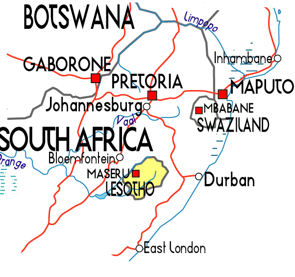 Political map of Lesotho. Lesotho political map.