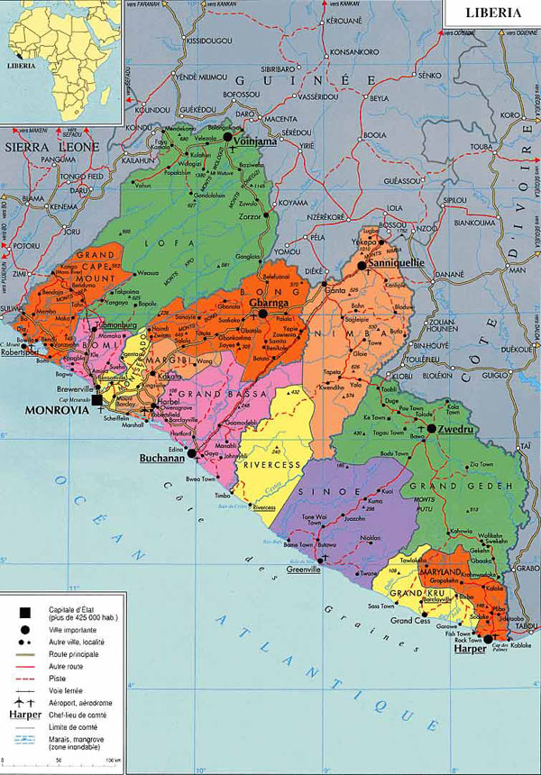 Administrative map of Liberia. Liberia administrative map.