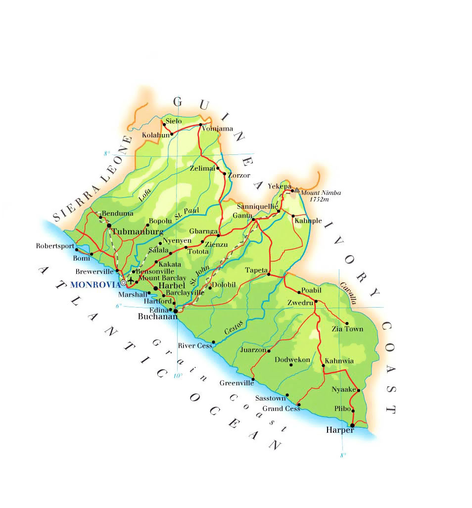 Detailed physical and road map of Liberia. Liberia detailed physical ...