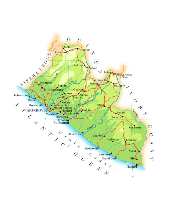 Detailed physical and road map of Liberia.