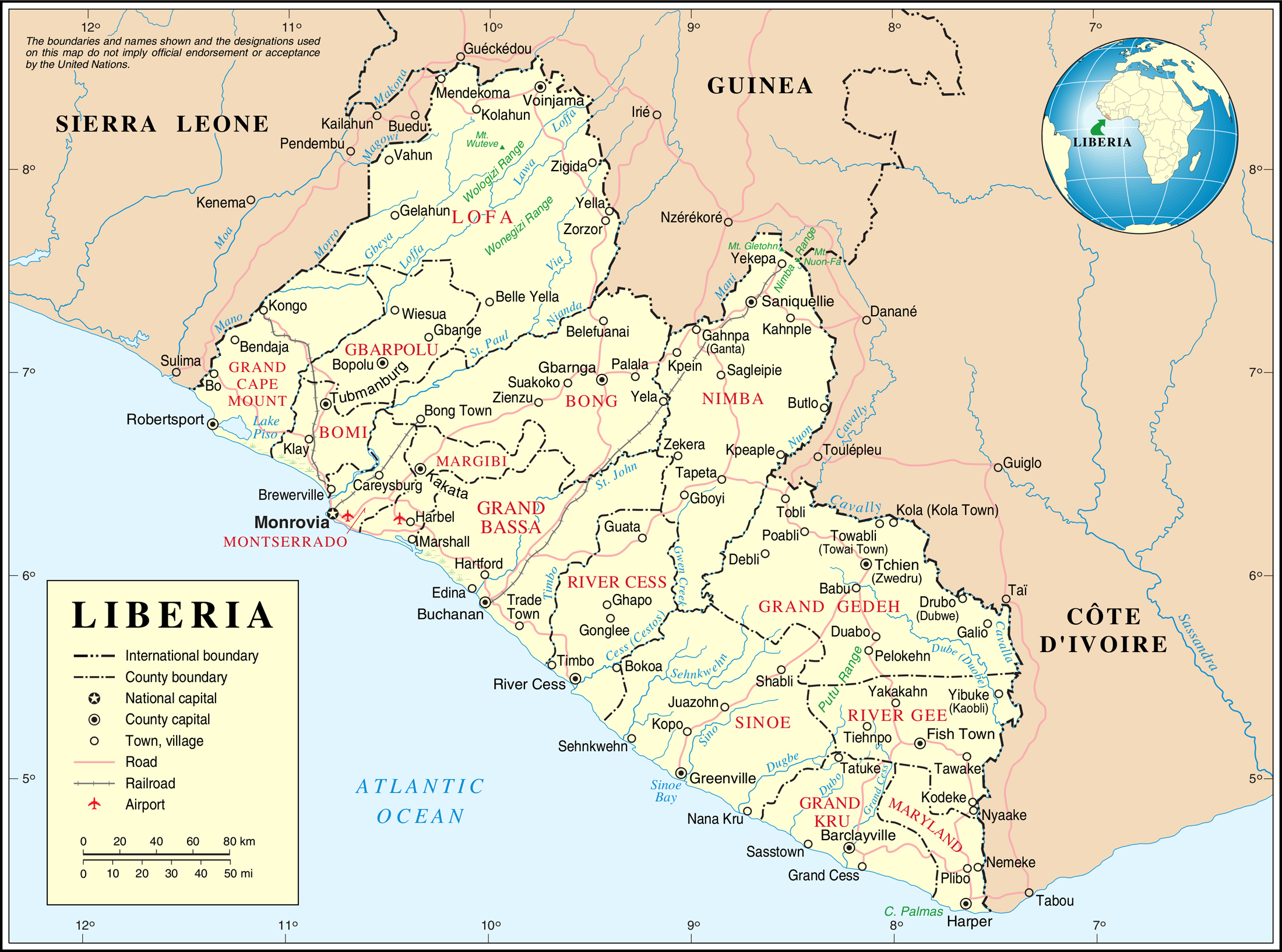 Detailed political and administrative map of Liberia with all cities