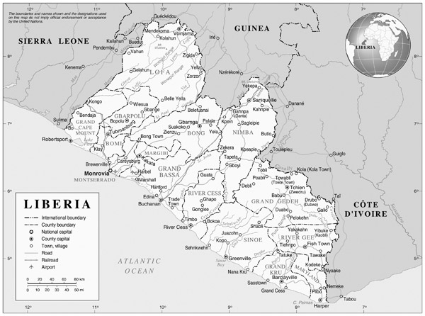Full political map of Liberia. Liberia full political map.