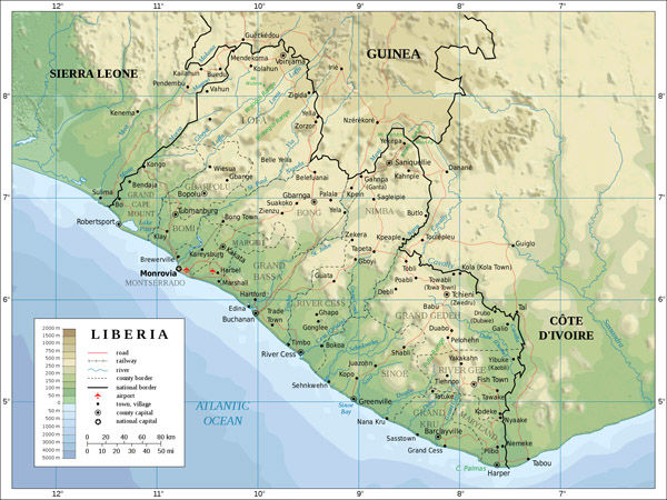 Large detailed Liberia topographical map. Liberia large detailed topographical map.