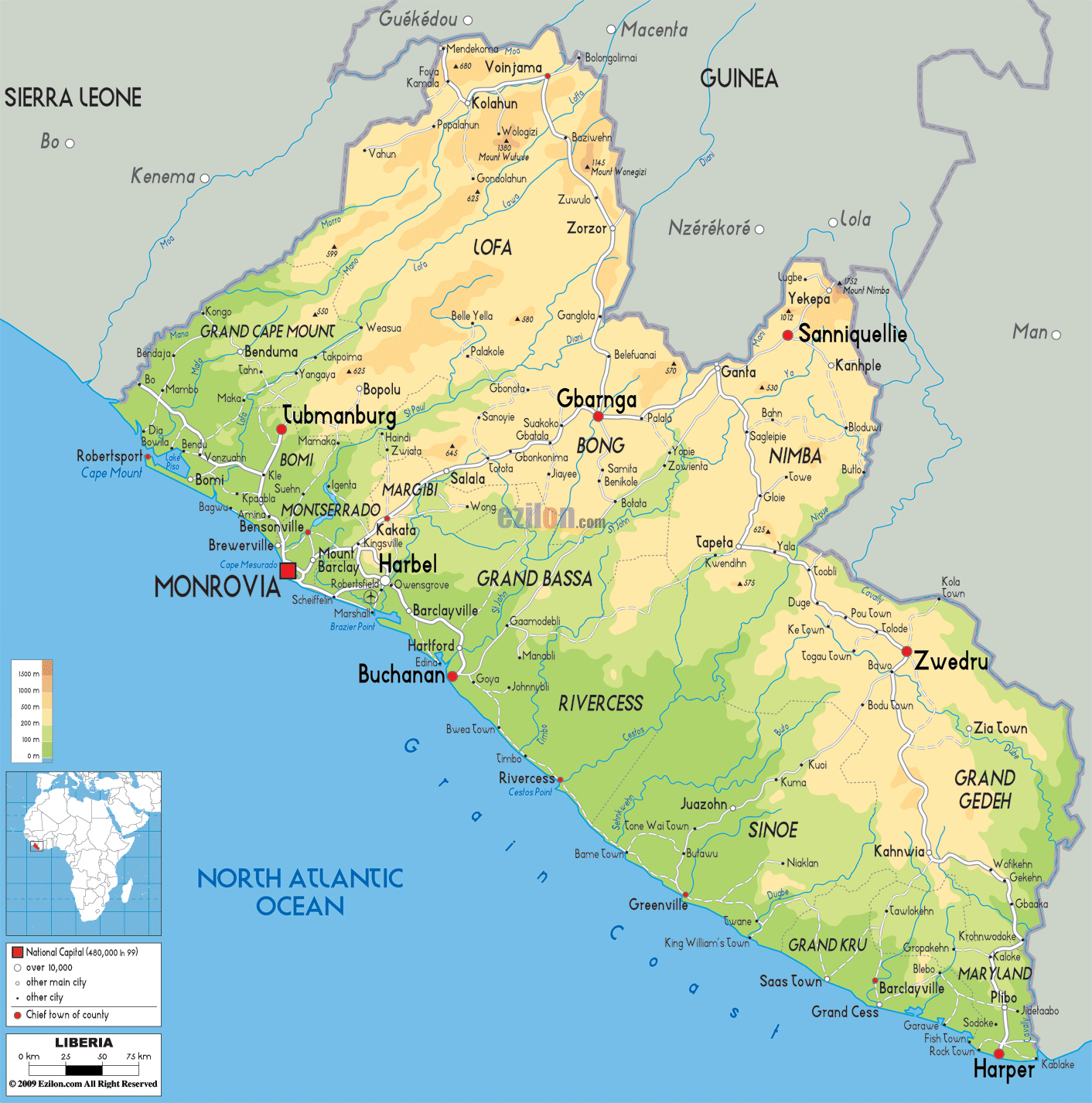 Large detailed physical map of Liberia with roads Vidianicom