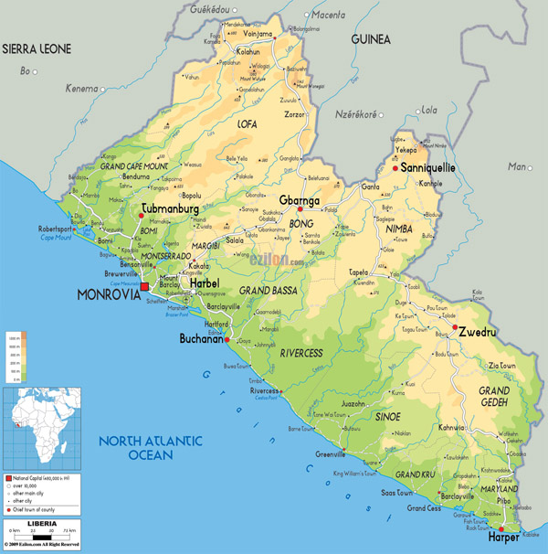 Large detailed physical map of Liberia with roads.