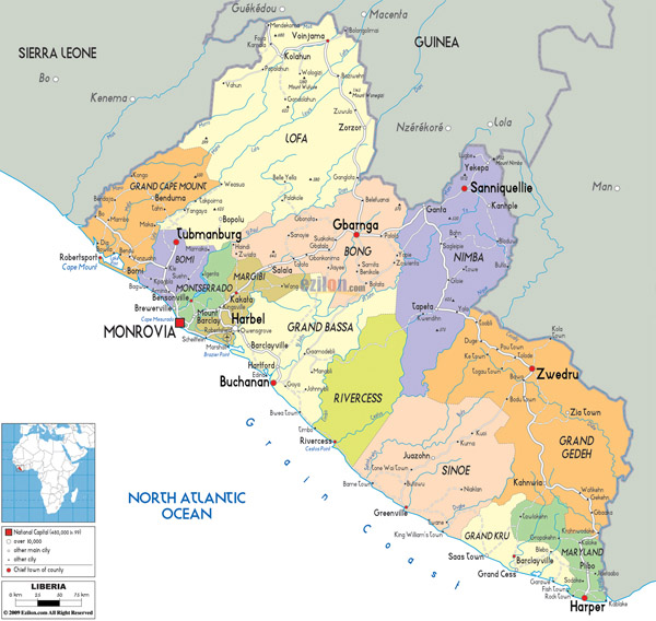 Large detailed political and administrative map of Liberia with roads and cities.
