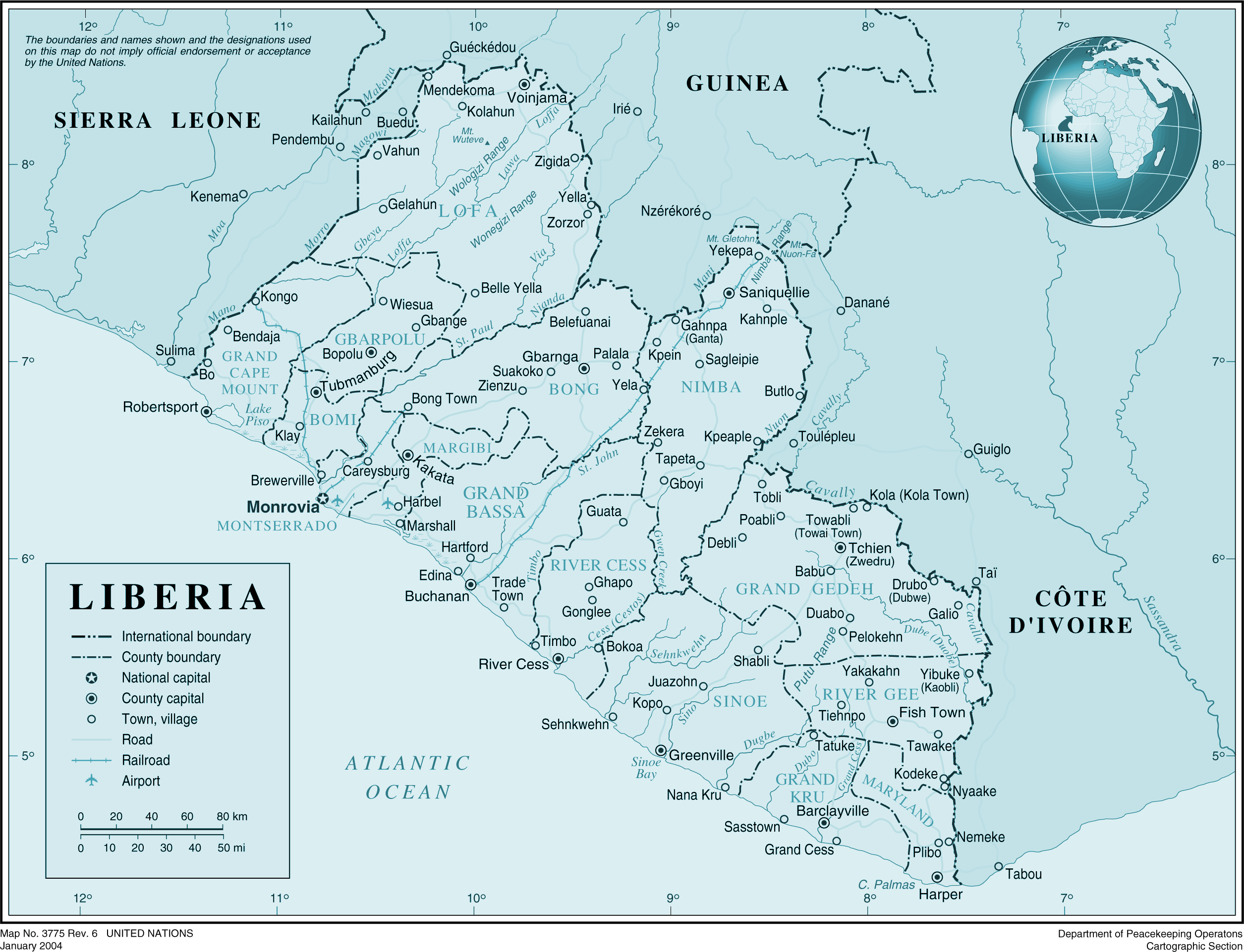 Large detailed political and administrative map of Liberia with