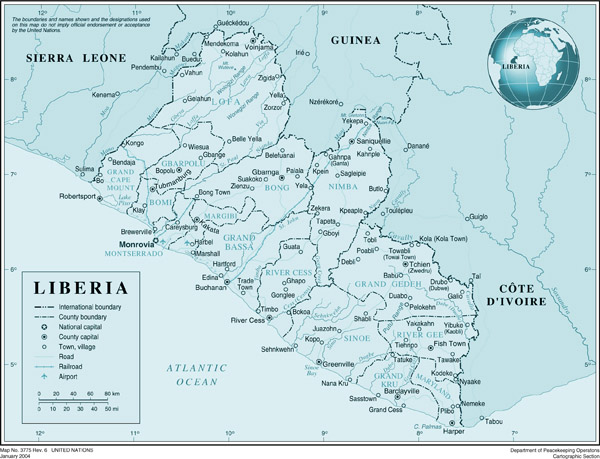 Large detailed political and administrative map of Liberia with roads, cities and airports.