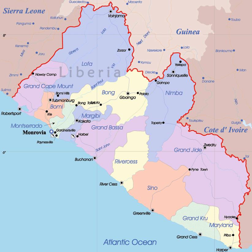 Liberia detailed political map. Detailed political map of Liberia