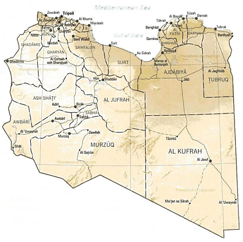 Detailed administrative and relief map of Libya Libya detailed