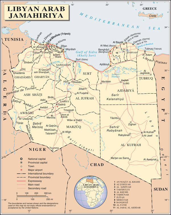 Detailed political and administrative map of Libya with all cities, roads and airports.
