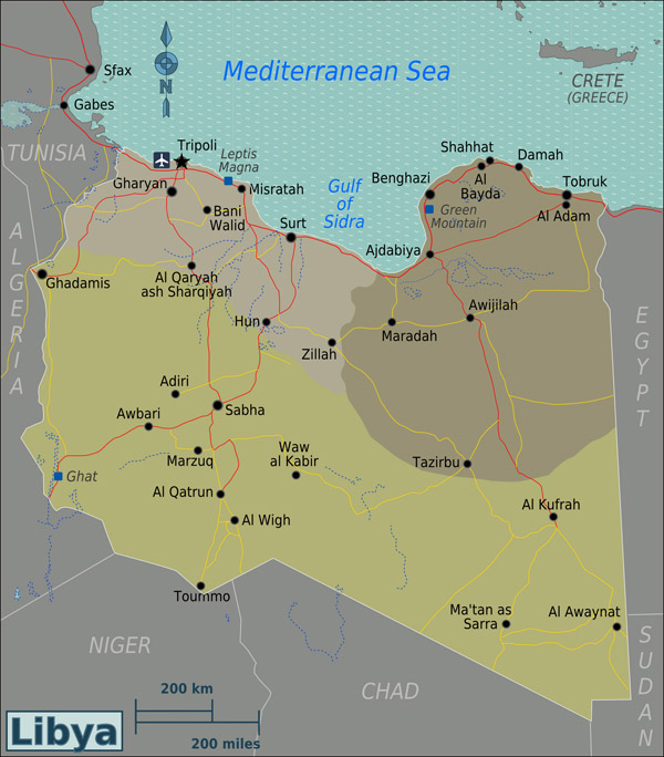 Detailed regions map of Libya with all cities. Libya detailed regions map with all cities.