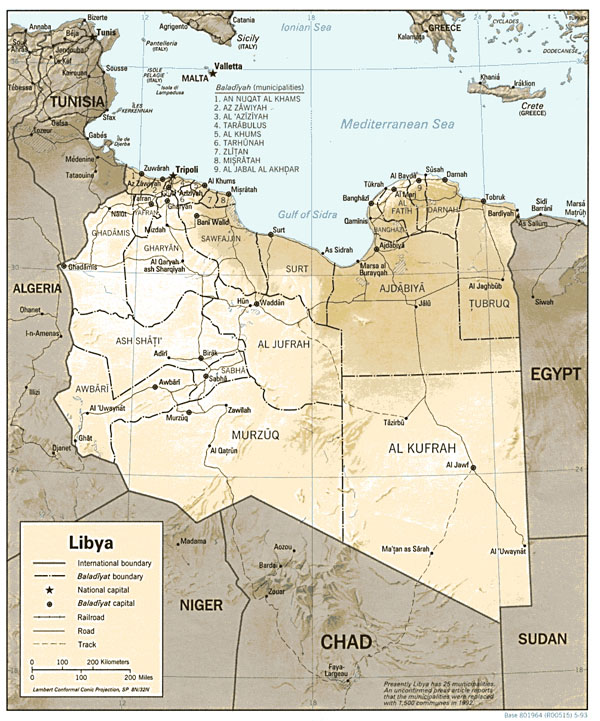 Detailed relief and political map of Libya. Libya detailed relief and political map.