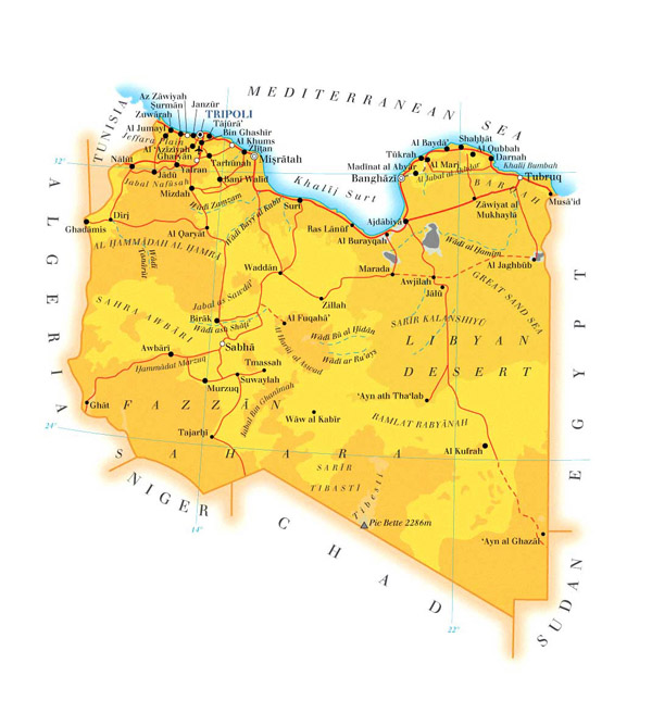 Detailed topo and road map of Libya. Libya detailed topo and road map.
