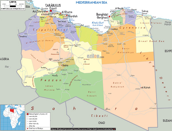 Large detailed administrative and political map of Libya with all cities, roads and airports.