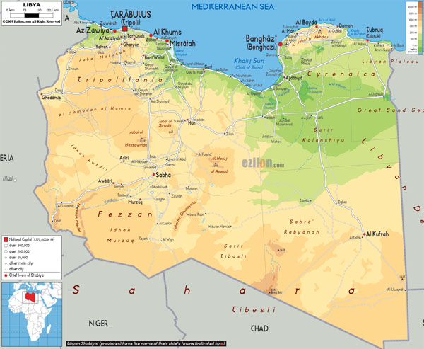 Large detailed physical map of Libya with all cities, roads and airports.