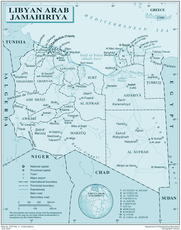 Large detailed political and administrative map of Libya with all cities, roads and airports.