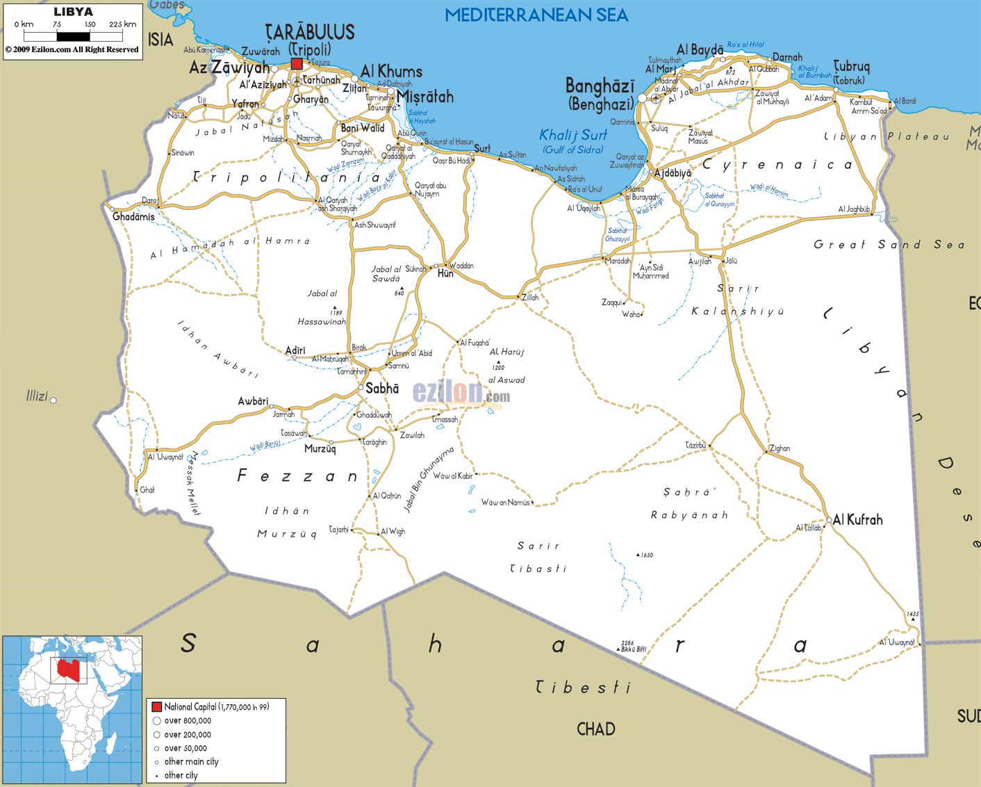 Large detailed road map of Libya Libya large detailed road map