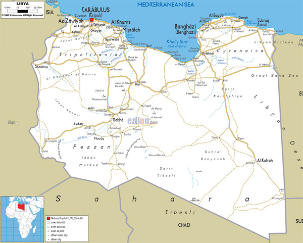 Large detailed road map of Libya. Libya large detailed road map.