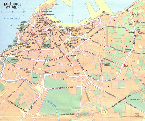 Large detailed road map of Tripoli. Tripoli large detailed road map.