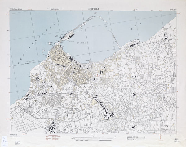 Large detailed topographical map of Tripoli 1943.