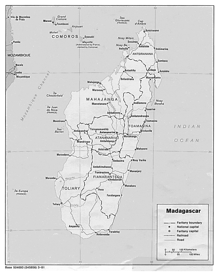 Administrative map of Madagascar. Madagascar administrative map.