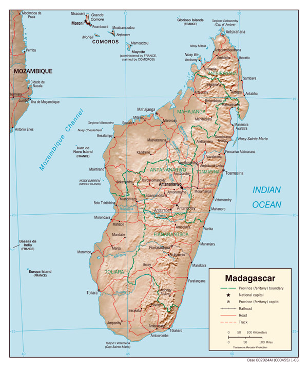 Detailed relief and administrative map of Madagascar.