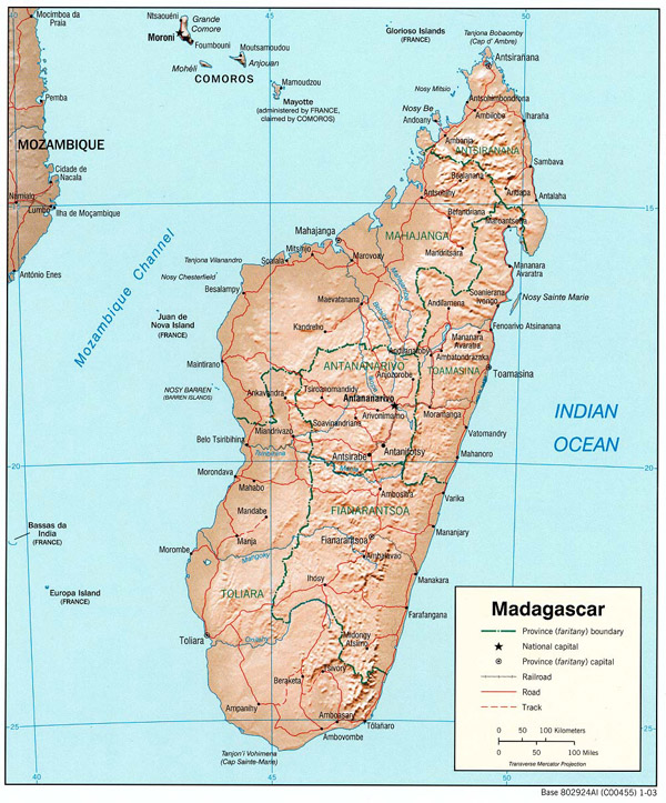 Detailed relief and political map of Madagascar.