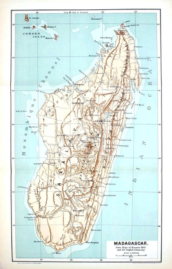 Detailed relief map of Madagascar - 1895.