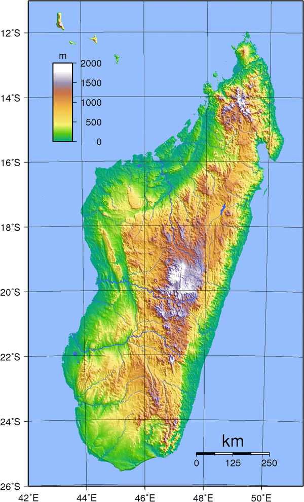 Detailed topographical map of Madagascar.