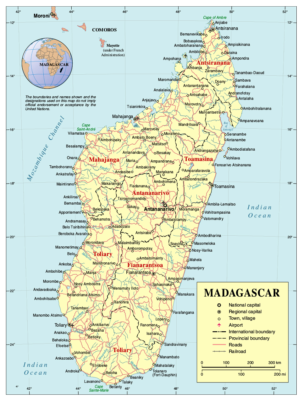 Full political map of Madagascar Madagascar full political map