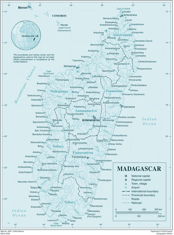 Large detailed administrative map of Madagascar.