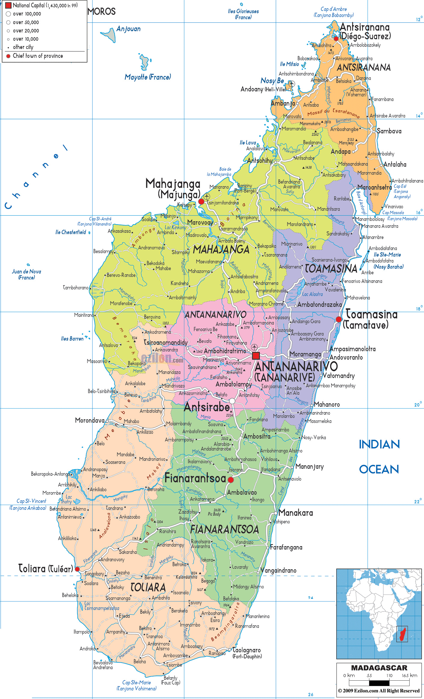 Large detailed administrative map of Madagascar with all cities