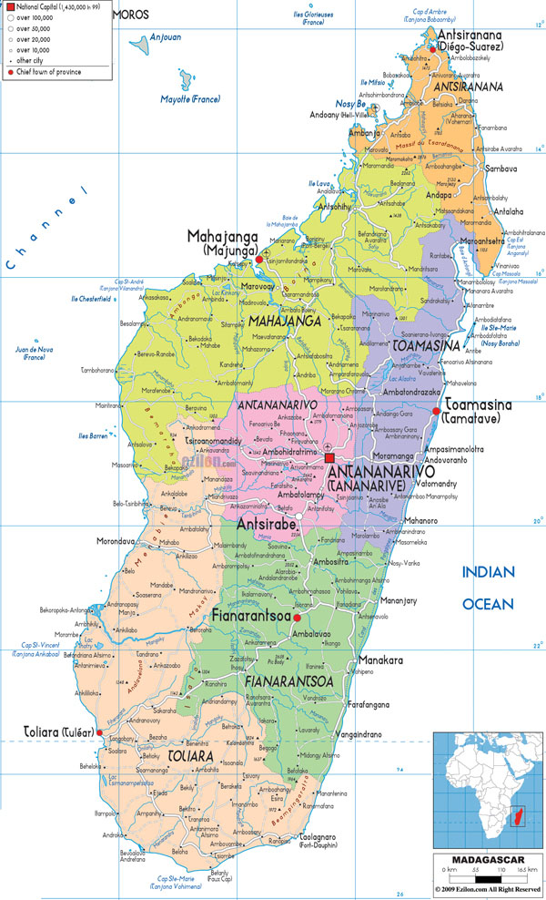Large detailed administrative map of Madagascar with all cities, roads and airports.